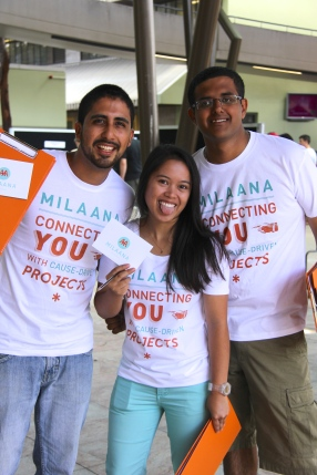 Nelson, April and Rahul excited and ready to introduce Griffith Students to the wonderful world of Milaana!